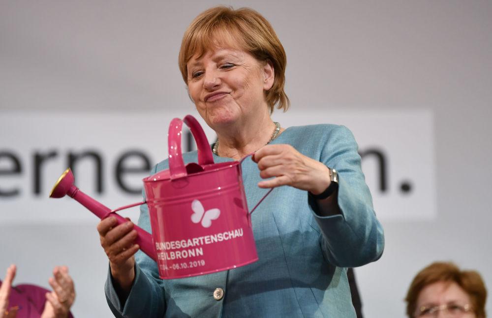 Chanceler alemã, Angela Merkel, participa de evento eleitoral do partido União Democrata-Cristã (CDU)