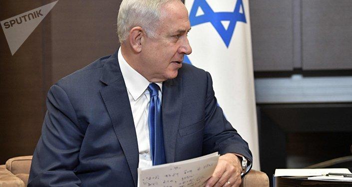 Primeiro-ministro israelense Benjamin Netanyahu durante o encontro com Vladimir Putin, 23 de agosto de 2017