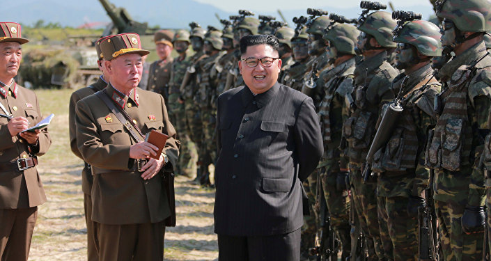 Kim Jong-un, líder da Coreia do Norte durante as manobras militares