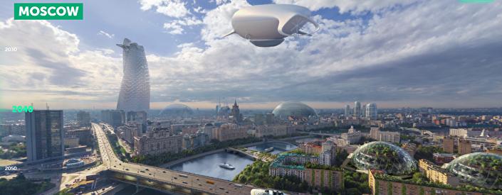 Moscou na década de 2040, de acordo com o portal Earth 2050