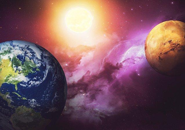 A Terra e Marte