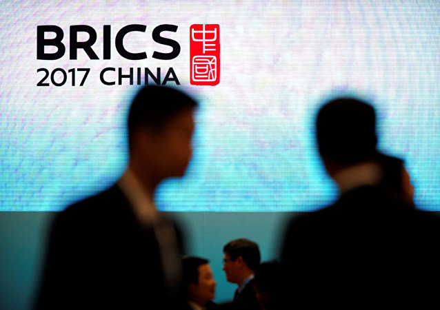 Participantes do forúm empresarial BRICS Business Forum em Xiamen China, 3 de setembro de 2017