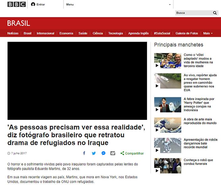 Eduardo é destaque na página da BBC Brasil. O artigo foi deletado hoje a tarde, depois da denúncia de fraude