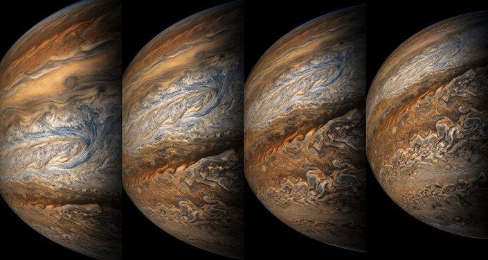 Colagem de fotos de Júpiter (visão artística)