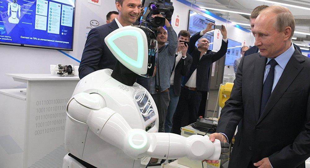 Vladimir Putin, presidente da Rússia, na exposição de negócios da economia digital