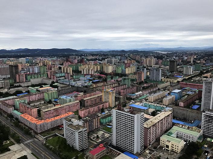 A capital norte-coreana, Pyongyang, vista de cima