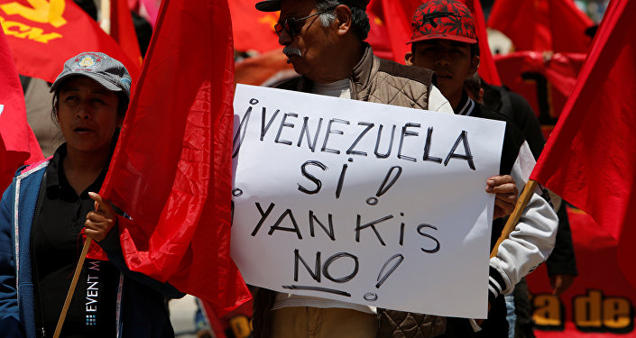 Manifestação de apoio ao presidente venezuelano, Nicolás Maduro, no México