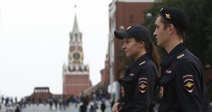 Polícia na Praça Vermelha em Moscou
