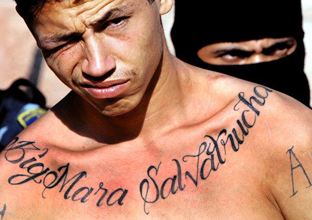 Membro da quadrilha Mara Salvatrucha (foto de arquivo)