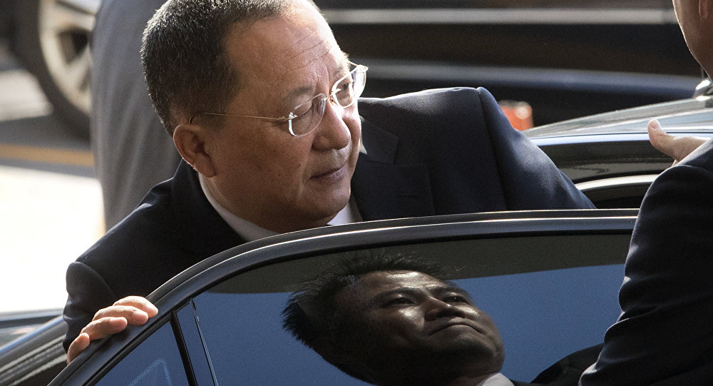 FILE - In this Sept. 19, 2017, file photo, North Korean Foreign Minister Ri Yong Ho gets into a car at Beijing Capital International Airport in Beijing. Ri in New York on Wednesday, Sept. 20, 2017, described as the sound of a dog barking U.S President Donald Trump's threat to destroy his country