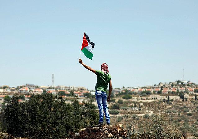 Manifestante com a bandeira da Palestina