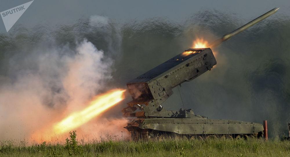Sistema de lançamento múltiplo de mísseis Solntsepyok (foto de arquivo)