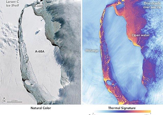 Iceberg gigantesco A-68 que se separou da geleira Larsen na Antártida em julho de 2017