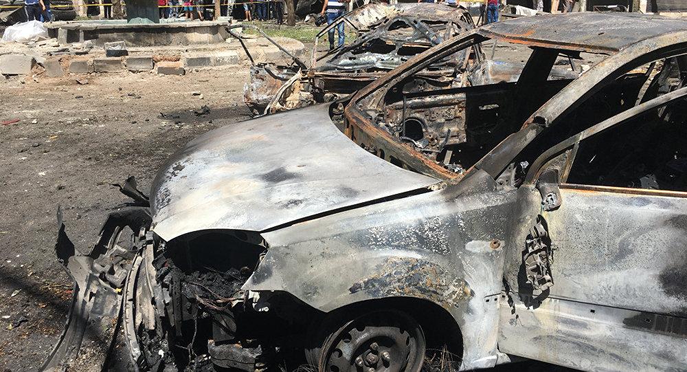 Lugar de explosão em Damasco, Síria (foto de arquivo)