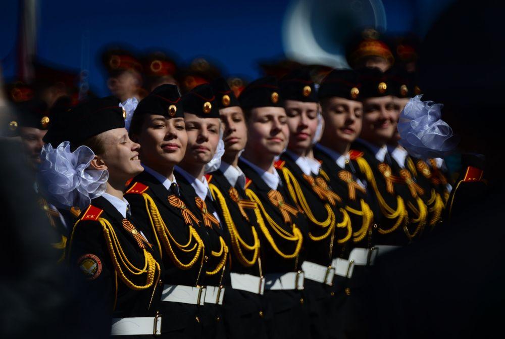 Ensaio geral da parada militar em homenagem ao 70º aniversário da vitória na Segunda Guerra Mundial de 1941-1945.