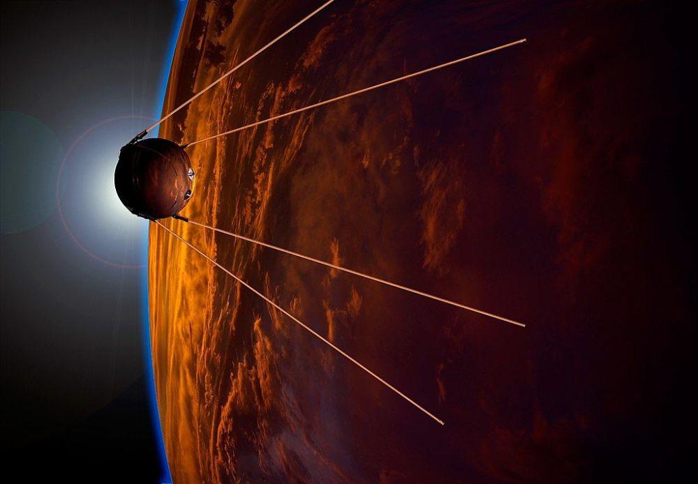 Ilustração artística para comemorar o 50º aniversário do lançamento do primeiro satélite artificial, Sputnik 1
