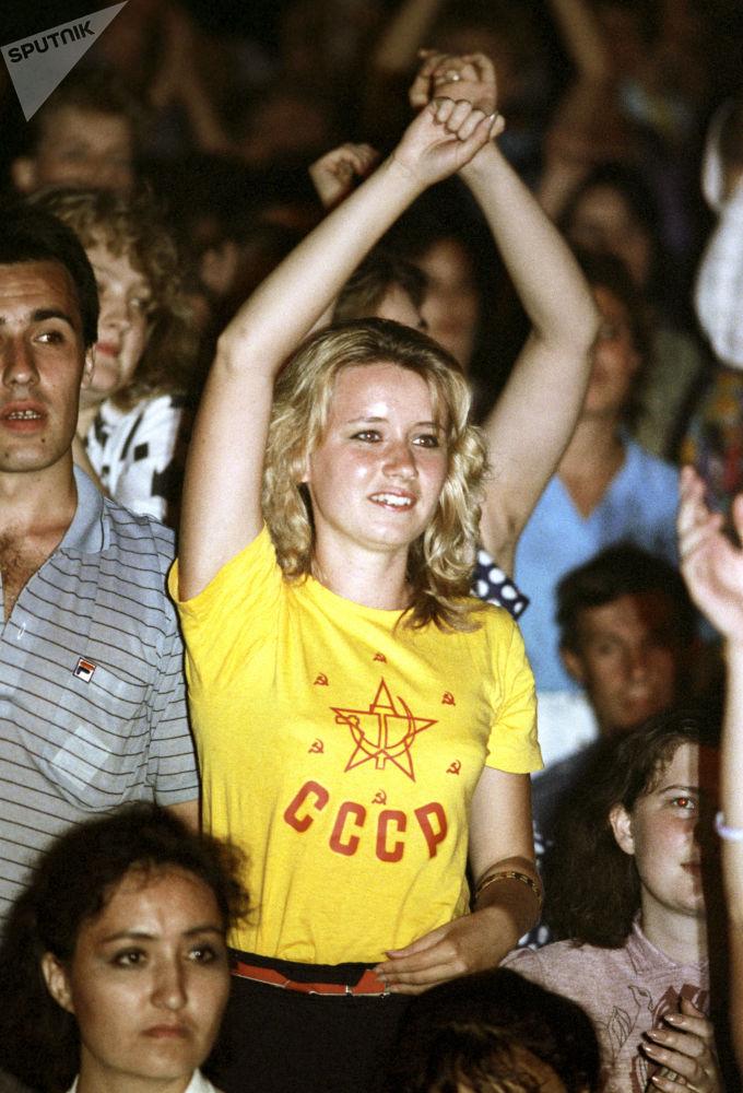 Soviética em uma competição de música rock em Moscou, 1988