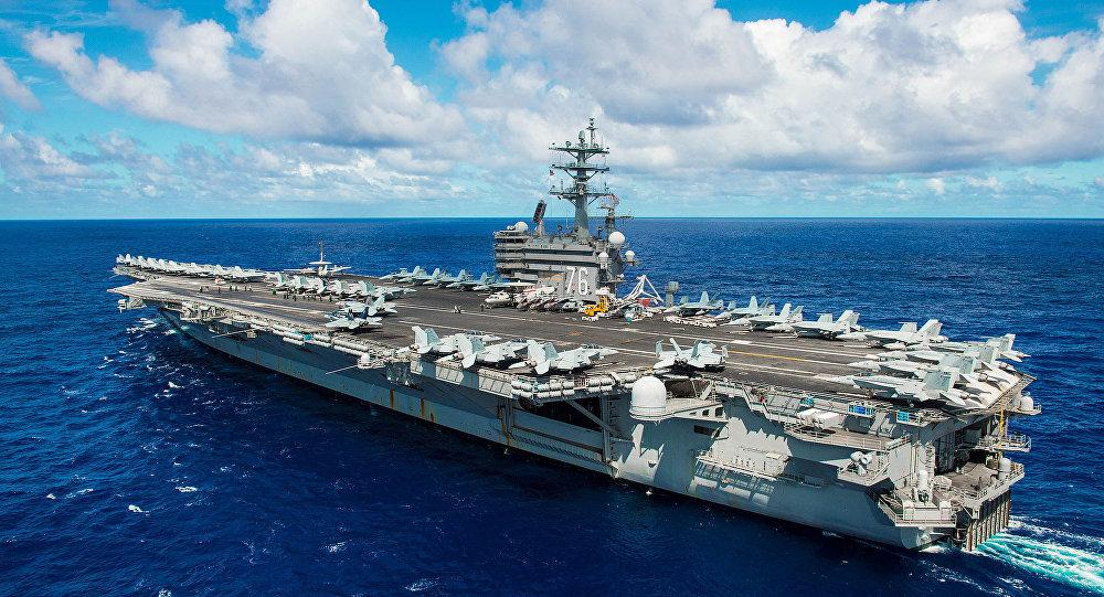 Porta-aviões Ronald Reagan dos EUA perto da península da Coreia