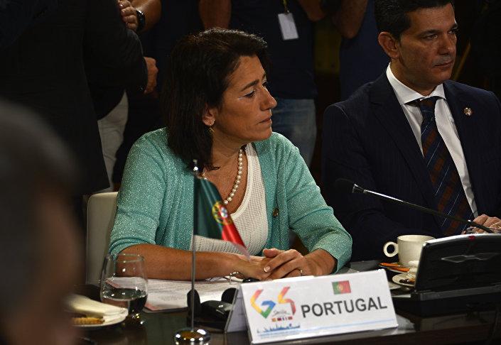 Constança Urbano de Sousa participa de um evento do Arquivo Geral das Índias em Sevilha em 3 de julho de 2017, ainda na qualidade de ministra da Administração Interior de Portugal