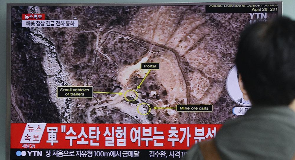 Um sul-coreano está observando o teste da Coreia do Norte realizado debaixo do monte Mantap