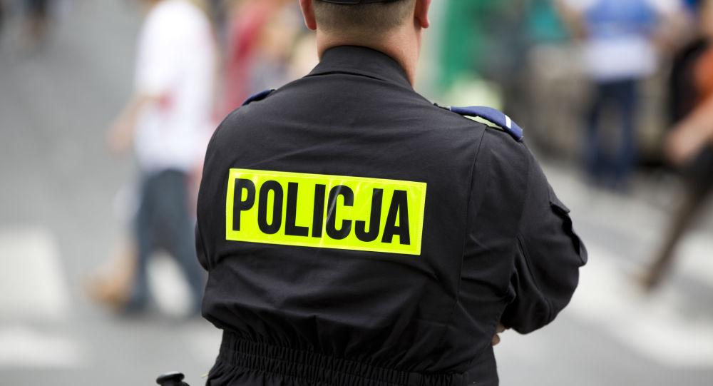 Policial polonês, foto de arquivo