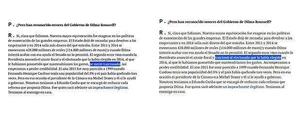 Captura do ecrã das duas versões da publicação no El Mundo