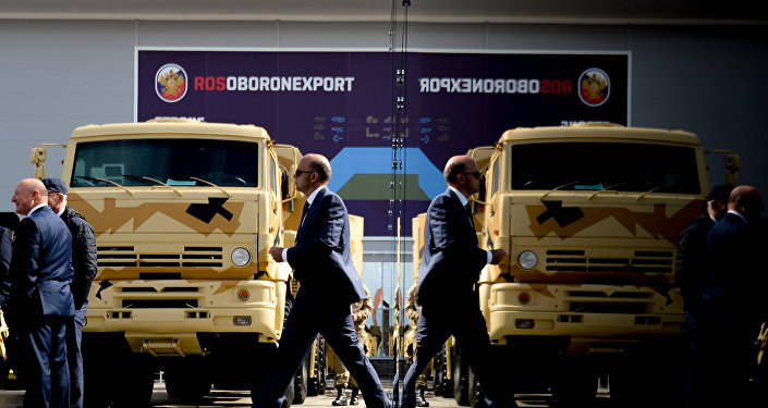 Estande da Rosoboronexport durante fórum internacional técnico-militar ARMY-2016