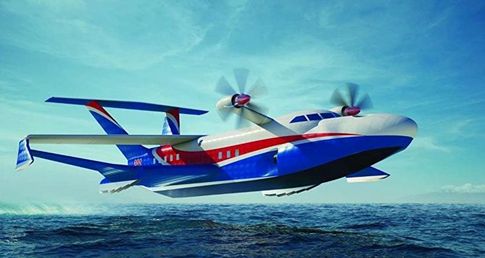 Desenho do futuro ecranoplano marinho pesado (imagem ilustrativa)