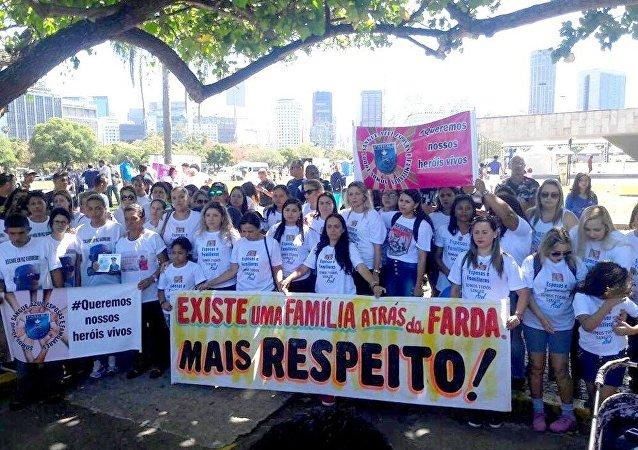 Protesto no Rio de Janeiro contra morte de policiais militares