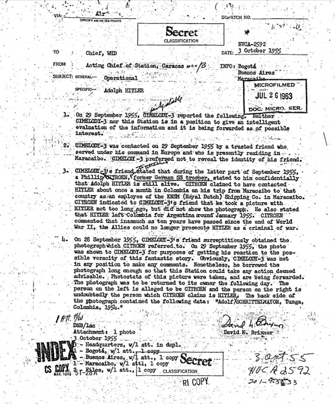 Trecho do relatório da CIA sobre a possível presença de Hitler na América do Sul