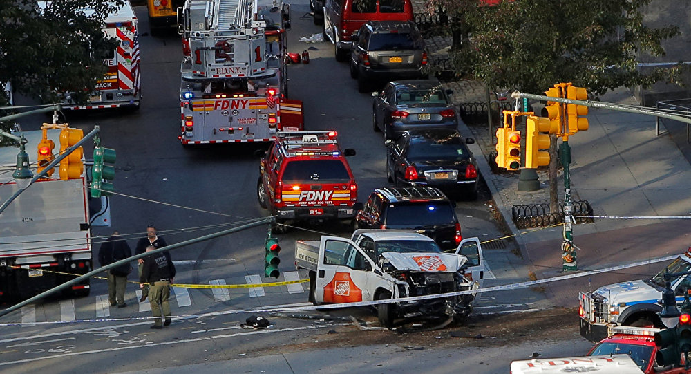 Emergency crews attend the scene of an alleged shooting incident on West Street in Manhattan, New York, U.S., October 31 2017.