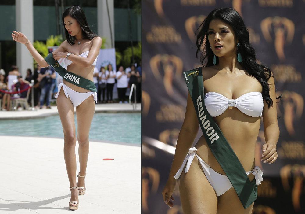 A candidata equatoriana ao título Miss Mundo, Lessie Giler Sanchez, durante uma sessão de fotos na praia, em Manila, nas Filipinas