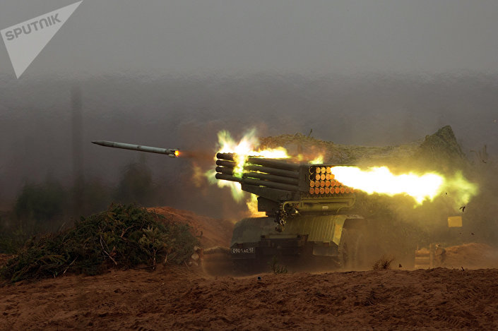 Lançador múltiplo de foguetes russo BM-21 Grad