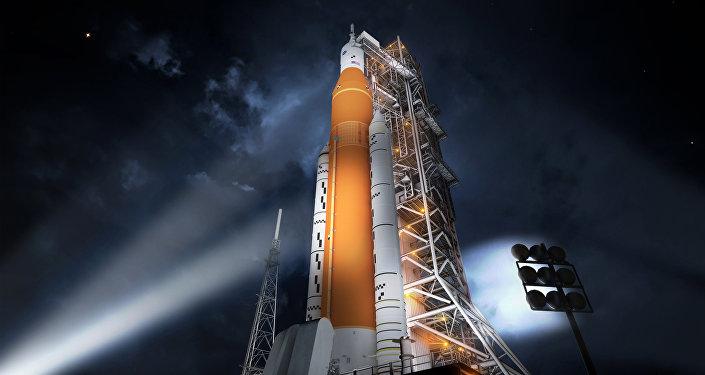 La impresión artística del Sistema Espacial de Lanzamiento de la NASA