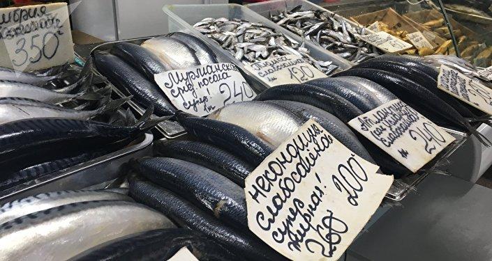 Vários tipos de peixe no mercado central de Rostov