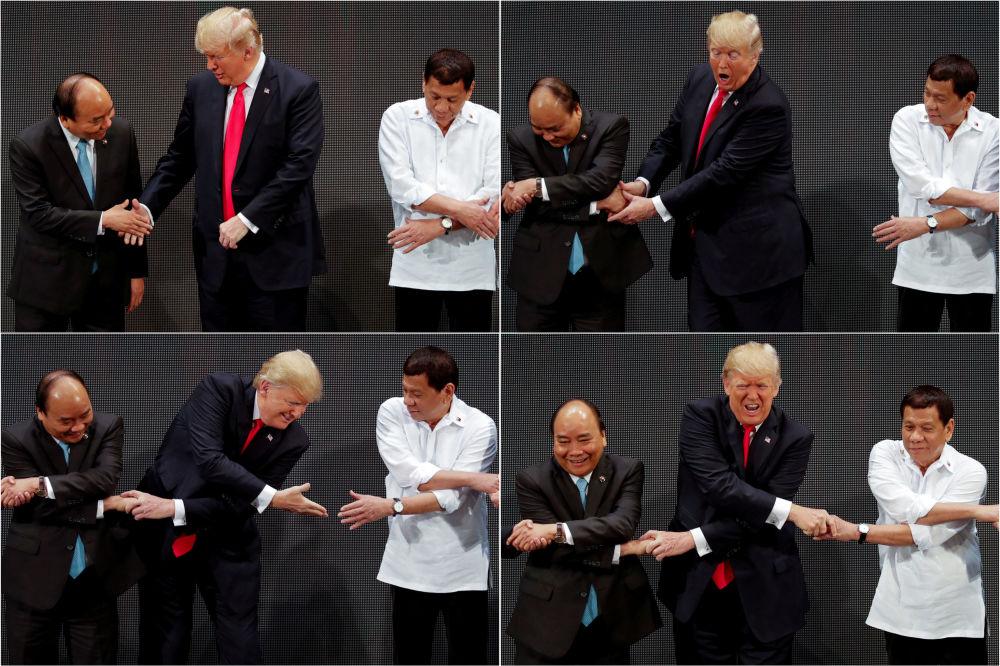 Donald Trump e Rodrigo Duterte participam da cerimônia de aperto de mão da ASEAN, Manila, Filipinas