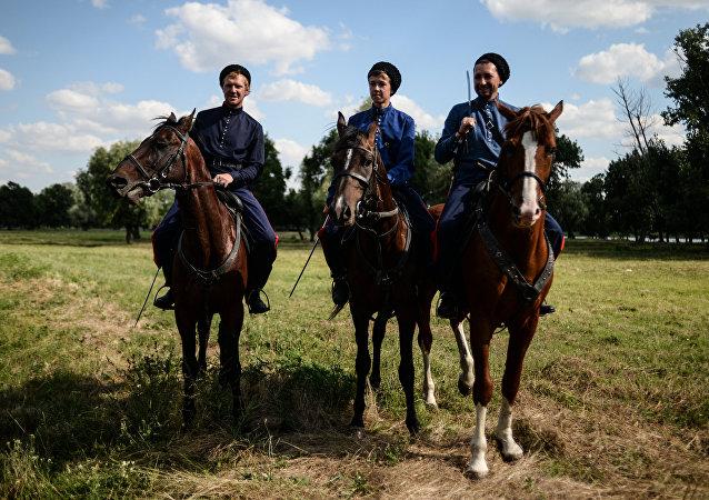Os cossacos da região de Don, na stanitsa Starocherkasskaya