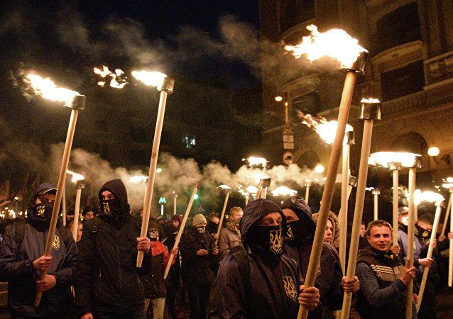 Marcha dos nacionalistas ucranianos por ocasião do Dia do Defensor da Ucrânia, 14 de outubro de 2017