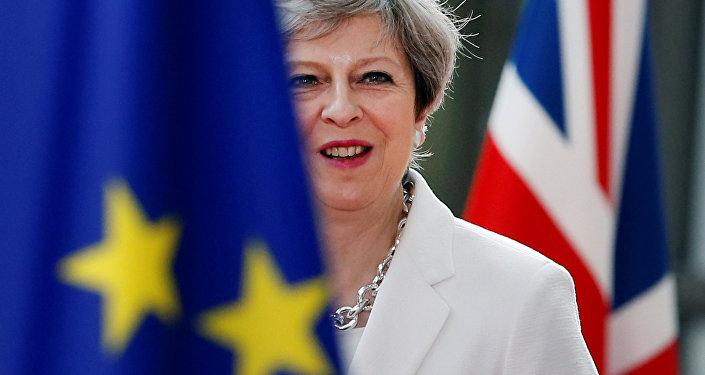 A primeira-ministra britânica, Theresa May, chega à cúpula da UE em Bruxelas, na Bélgica, em 23 de junho de 2017.
