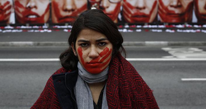 Ato contra a violência à mulher na Avenida Paulista, São Paulo, em 2016