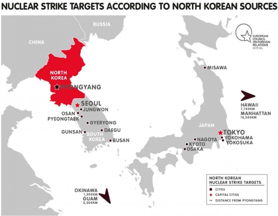 Mapa de possíveis alvos da Coreia do Norte em caso de uma guerra contra os EUA e seus aliados